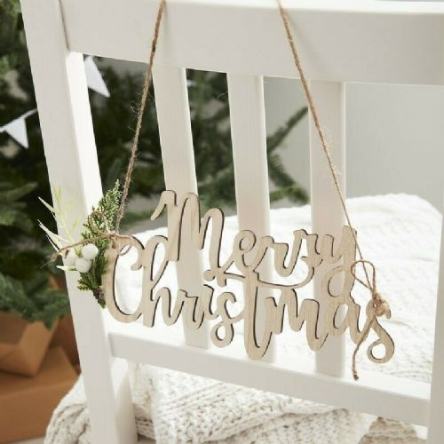 Wooden Merry Christmas Signs 4pk